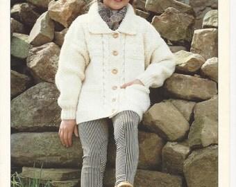 ORIGINAL KNITTING PATTERN Jacket - Vintage - Child's - Sirdar 4896 - Chunky Yarn - 56 - 76 cm (22 - 30 ins)