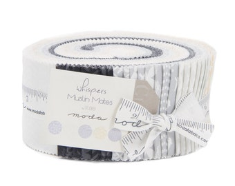 WHISPERS MUSLIN MATES - Jelly Roll - 33130 - Muslin Mates by Moda - Basic - Backgrounds - White-on-White - Black-on-Black