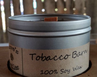 Tobacco Barn. 8oz Soy Candle Tin with Wood Wick.