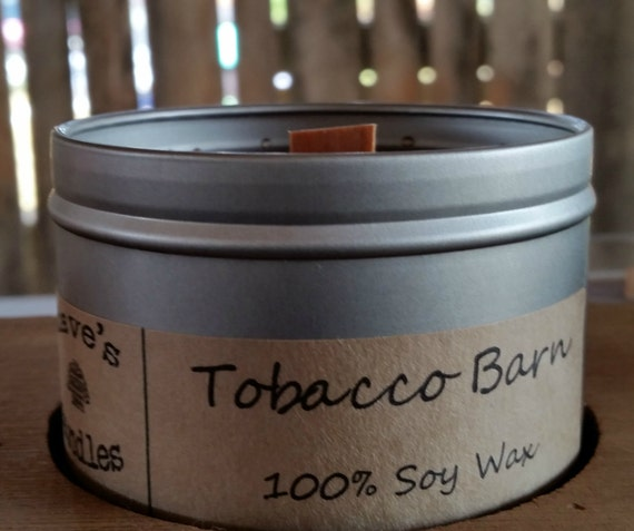tobacco barn 8oz soy candle tin with wood wick. Black Bedroom Furniture Sets. Home Design Ideas