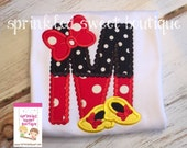 Custom Minnie Inspired Alpahbet Mouse Applique Girls Ruffle Shirt Onesie Perfect for First Disney Trip or Birthday Matching Brother