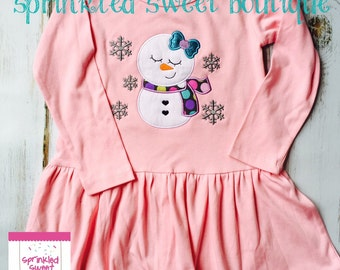 Sweet Snowgirl Snowflake Winter Christmas  Applique Girls Dress Custom