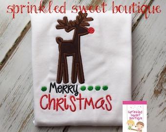 Ruldolph Reindeer Cute Merry Christmas Holiday Custom Shirt Boy