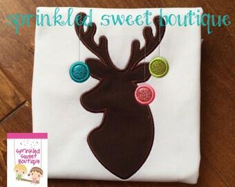 Girls Deer Ornament Glitter Silhouette Christmas Holiday Bow Custom Shirt