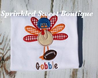 Football Turkey Boys Thanksgiving Shirt Custom Monogram Gobble Fall Applique Embroidery