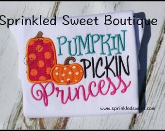 Pumpkin Pickin Princess Halloween Thanksgiving Shirt Custom Monogram Fall Applique Embroidery
