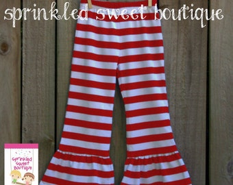 Big Ruffle Red White Stripe Girls Pants Perfect for Christmas Valentines Cute Matches Applique Shirts