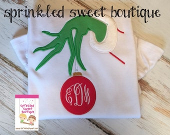 Monogram Ornament Christmas Grinch Hand Girls or Boys Applique Holiday Shirt Cute Dr. Seuss First Christmas or Birthday Shirt Onesie