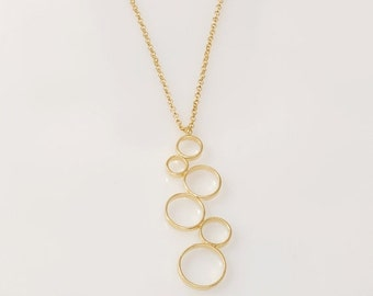 25% OFF SALE Gold Circles Nnecklace Circles Pendant gold pendant necklace Circles pendant Gold Nnecklace