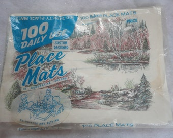 Vintage Unused 100 Placemates Fall Winter Scene Valcour Count Imprinted Paper Inc Thanksgiving Fall Entertaining Placemats