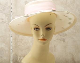 Betmar white, wide brimmed women's summer hat. Roses, tulle, made in USA. Easter bonnet, sun hat