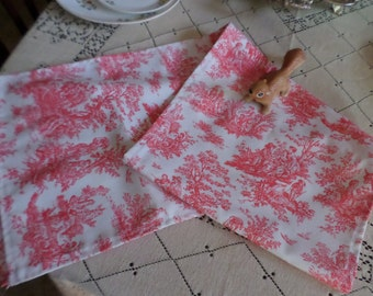 Vintage Red Transferware Victorian Pattern Fabric/Cloth/Material Table/Dresser Runner/Scarf
