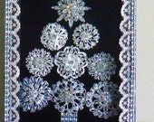 Christmas Tree themed Jeweled - Sparkly Framed Bling Rhinestone and Crystal Brooch Wall Art