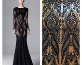 Black Lace Fabric, Black Lace, Lace Material, Embroidered Lace, Embroidered Tulle (C1)