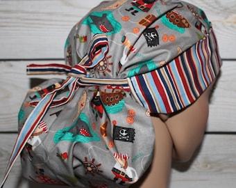 Pirates,Surgical Scrub Hat,Women's Surgical Scrub Cap,Front Fold Ponytail