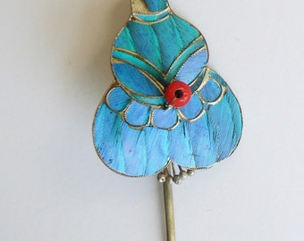 Qing Dynasty Kingfisher feather & Coral Hair Pin Antique VINTAGE 19th Century