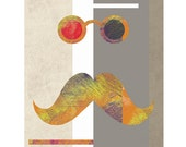 Mustache Art Print Original Modern Funny Wall Art  / 8x10 inches