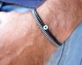 Chevron Bracelet - Mens Bracelet - Magnetic Bracelet - Rope Bracelet - Geometric Ethnic Bracelet - Black & White Bracelet - Hipster Bracelet