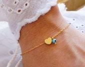 Heart Bracelet - Turquoise Evil Eye Bracelet - Matte Gold Heart Bracelet - Love Bracelet - Bridesmaid Gift  (Also in Silver)