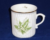 May Mug by Orginal Bohemia, Flower of the Month Mug, Lily of the Valley Mug