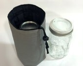 Jars to Go Single - Gray quart size Mason canning jar drawstring bag carrier cozy koozie snack pouch
