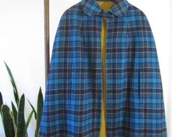 Vintage Wool Plaid Capelet
