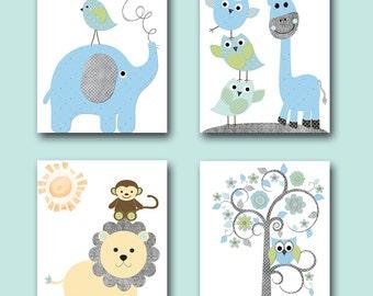 Baby Boy Nursery Wall Decor Kids Art Kids Wall Art Childrens Art Print Giraffe Wall Decor Elephant Wall Decor set of 4 Gray Blue