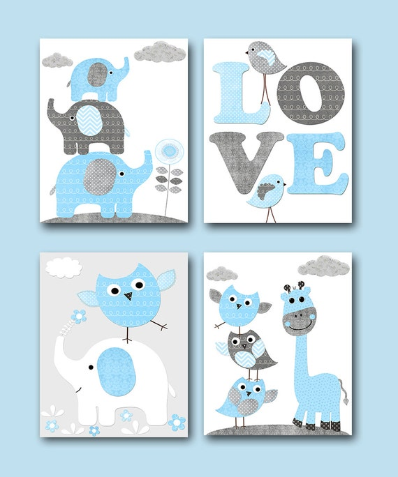 Grey Blue Owl Giraffe Elephant Decor Canvas Nursery Print Baby