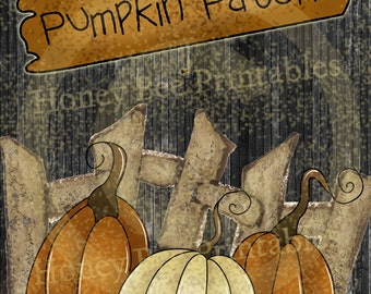 Primitive Autumn Fall Pumpkin Patch - 8x10 Instant Folk Art - Card Making -  Instant Download - JPEG - U Print Use for Labels - Hang Tags