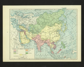 Vintage Map Asia 1923 with WWI changes