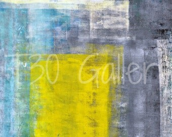 Digital Download - Some Modern Squares, Teal and Yellow Abstract Artwork