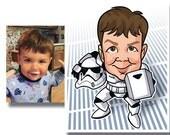 "Customized Cosplay Kids  Children Star Wars Character Caricature Print / Poster 8""x10"" Darth Vader Boba Fett"