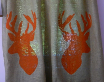 "Burlap deer curtains. Each panel measures 40""WX72""H"