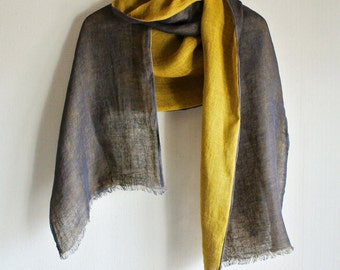 Natural Logwood and Bayberry dyed Ocher and Navy 2colors faced Linen scarf