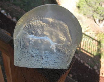 RARE SignedJ Pelt  Bull on the Range Lucite Clear Acrylic Sculpture Very Good Amazing details