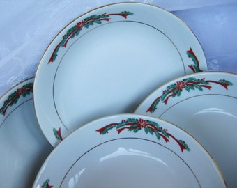 Fairfield Poinsettia Ribbons Coupe Soup Set of 4 included    Very good Christmas China Two Sets of 4 available