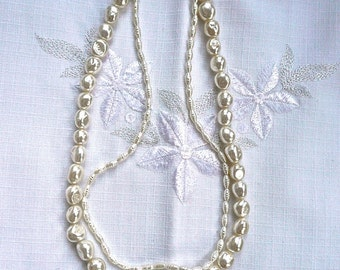 Genuine Perls - Double Strand Necklace - Natural Pearl Necklace - Sweet Water Pearl Necklace - Satin White - Hook Closure - Wedding  Pearls
