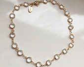 """Gold choker chain with Swarovski crystals """"diamonds by the yard"""" style. HQ very sparkling. Bride, bridesmaids gift. Wedding. Kylie Jenner st"""