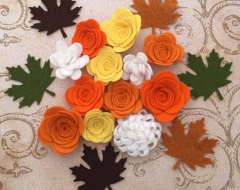 Fall Handmade Wool Felt Flowers