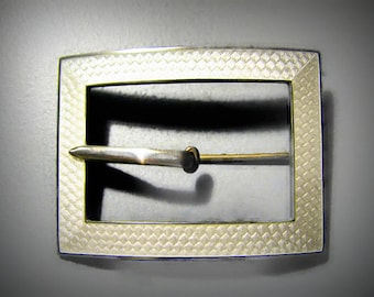 Antique GUILLOCHE ENAMEL Buckle/Sash Pin in Sterling Silver with Snow White Enamel -- Excellent Condition!