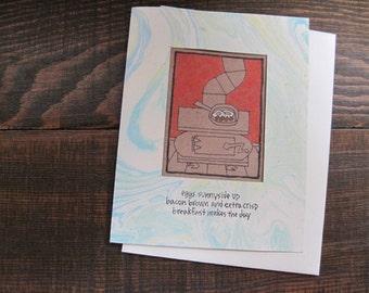 Eggs Sunnyside Up -- ORIGINAL hand-drawn card, blank inside, haiku, suminagashi (#NCC004)