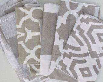 Taupe White Fabric Scraps Bundle, Ecru Anderson, Backdrop Lyon, Cabana, Fynn, Chevelle, Home Decor Premier Prints REMNANT CUTS