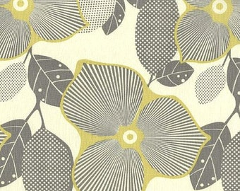 LAST 1/2 YARD - Amy Butler Optic Blossoms -   Midwest Modern -  Ivory Grey Mustard Yellow