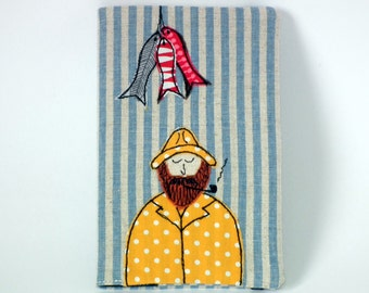 Linen Moleskine Pocket Cahier Notebook / Journal with Removable Freehand Machine Embroidered Fisherman Fabric Cover