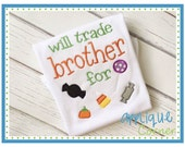 197 Trick or Treat Halloween Will Trade Brother for Candy applique digital design for embroidery machine by Applique Corner