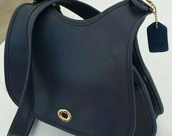 Navy Blue Leather Satchel Purse with Brass Hardware and Matching Small Cell Phone Bag