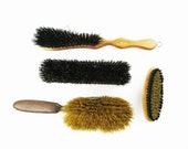 Four Brushes - Black and Tan Bristles - Wood Handles - Clothing, Hair and Shoe - Collectible - Useful - Collect