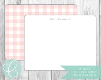 Flat Note Cards - Gingham - Set of 20