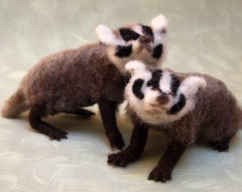 American badgers needle felted sculpture pure wool OOAK