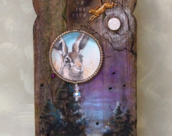 hare rabbit icon reclaimed wood original watercolor painting mixed media wall art OOAK